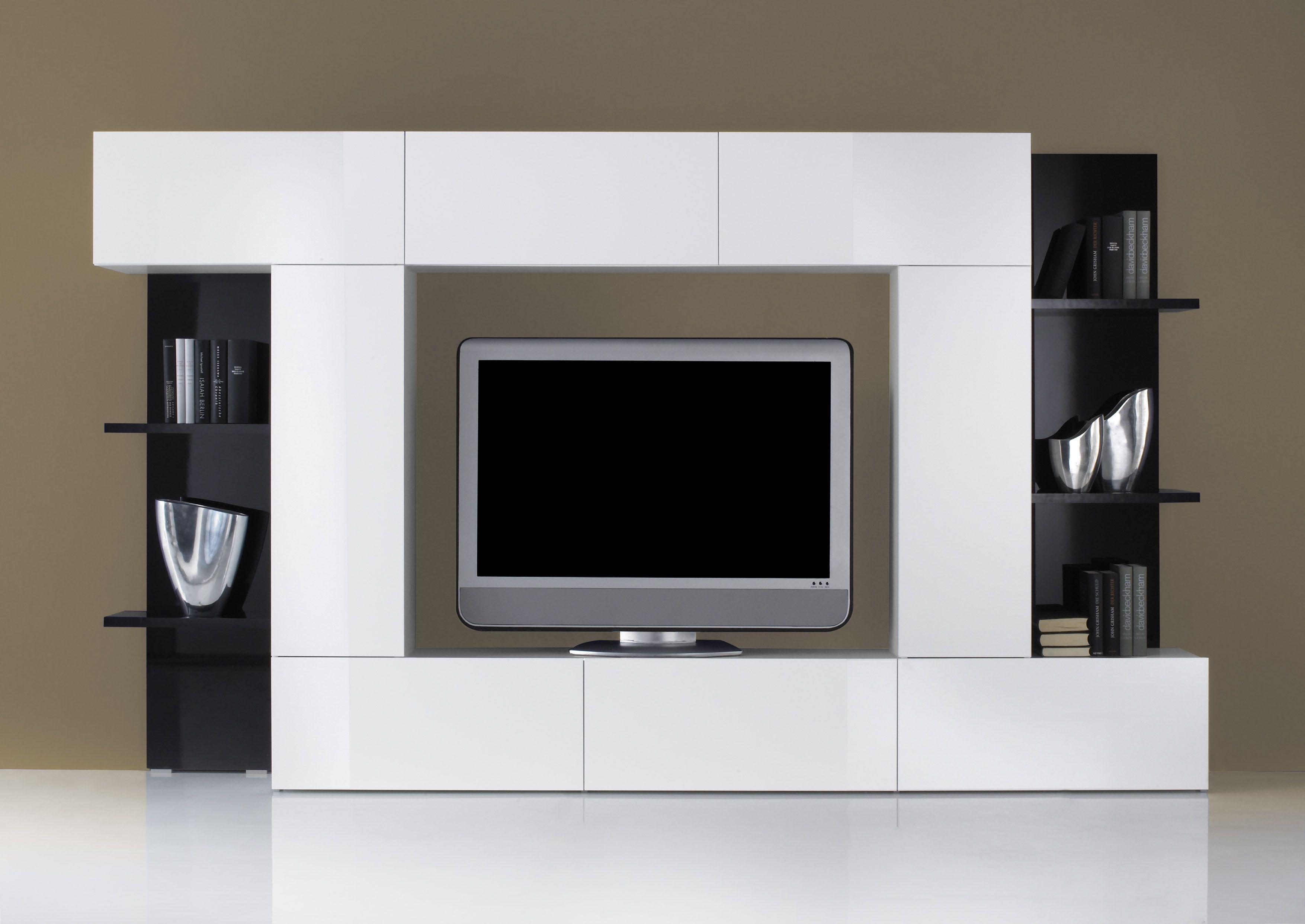 PORTA TV-SOGGIORNO MOBILE Moderno Mod.DADO B/N KIT LACCATO LUCIDO ...