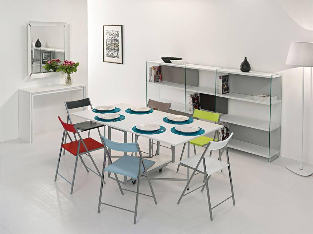 Tavolo consolle archimede con 6 sedie ebay for Tavolini trasformabili ikea